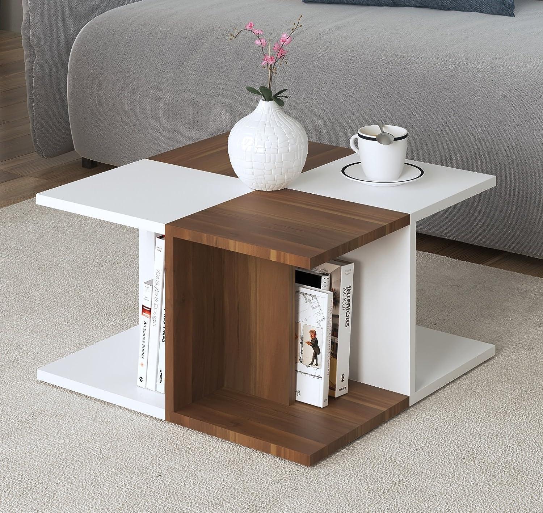 Bianco//Noce Homidea ROSE Tavolino basso da salotto Tavolino da divano Tavolino da Caff/è moderno in un design alla moda