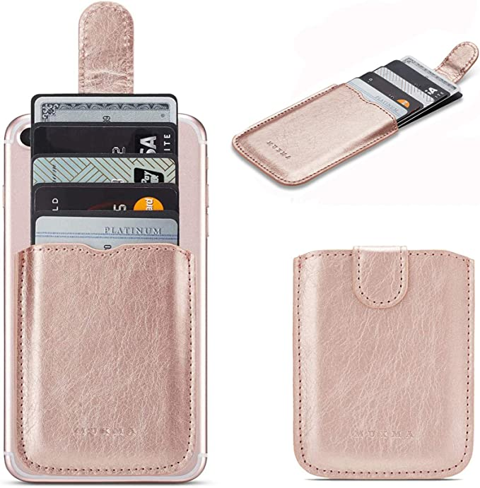 Black Adhesive Credit Card Sleeve Stick on Wallet for iPhone,Samsung TOPWOOZU Card Holder for Back of Phone