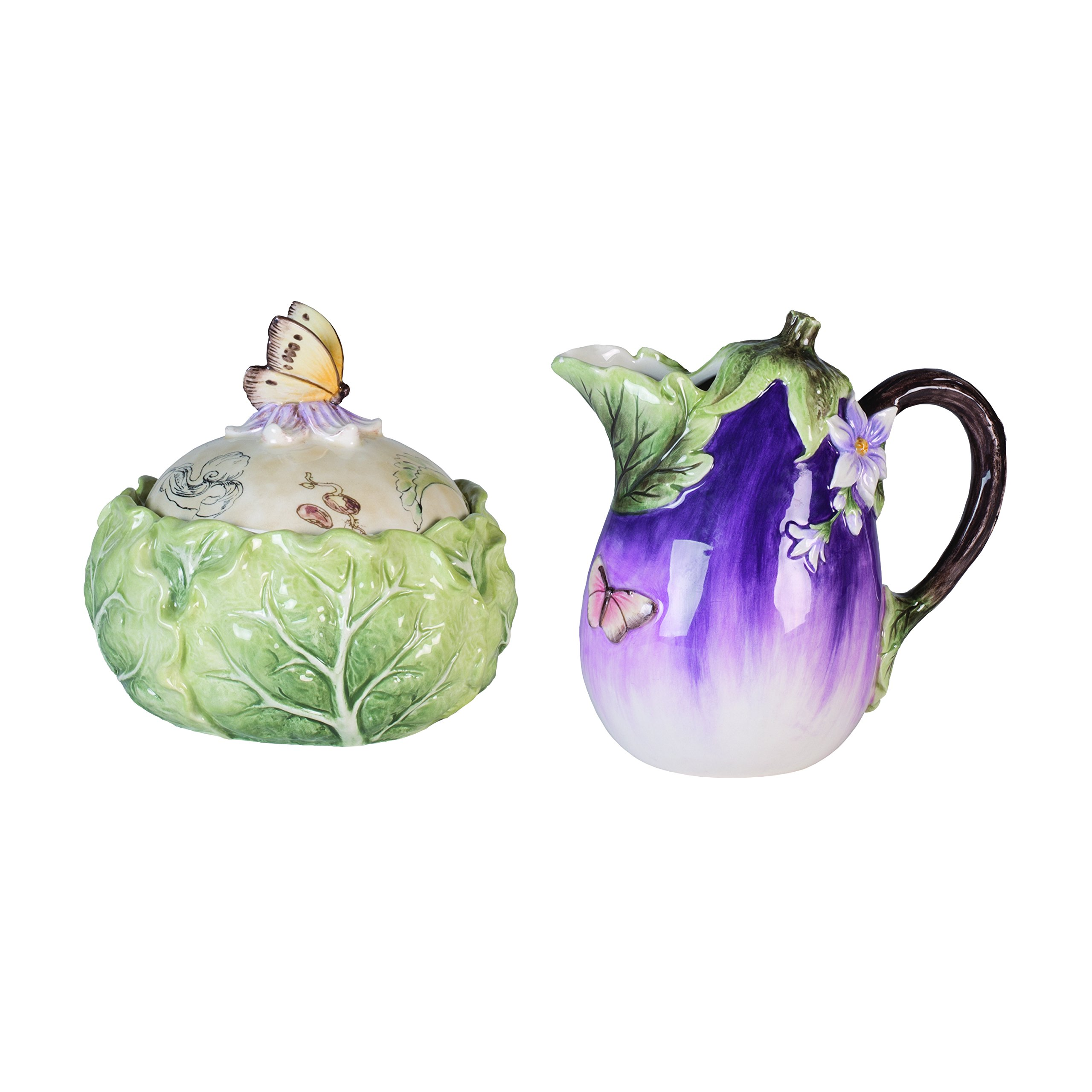 Fitz and Floyd 21-032 Fattoria sugar and creamer set, 5.8 x 5.8 x 5.5 inches, Green/Purple