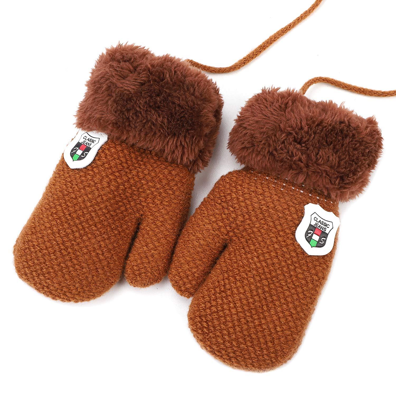Süße Handschuhe unisex Fäustlinge Baby Mädchen Jungen Kleinkinder 1-5 Jahre Kinderhandschuhe warm weich Winter Fingerhandschuhe mit Plüsch Fleecefutter Verdicken Babyhandschuhe Outdoor Wandern longteng