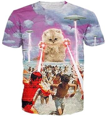 8c004488abc8 HWHColor Boys Girls 3D Laser Cat Attcak Beach Shirt Funny Graphic Tee ,Cat16,Asia