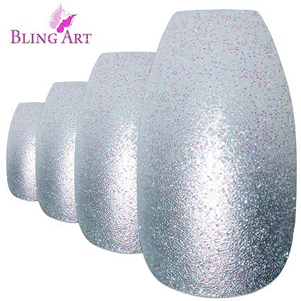 Bling Art Uñas Postizas Plata Gel Ombre Bailarina 24 Ataúd Longe Falsas puntas acrílicas con pegamento