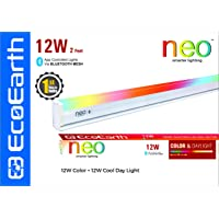 EcoEarth NEO 12 Watt Smart LED Batten (2 Feet) Compatible with Bluetooth (Cool Day Light + 16 Million Color)