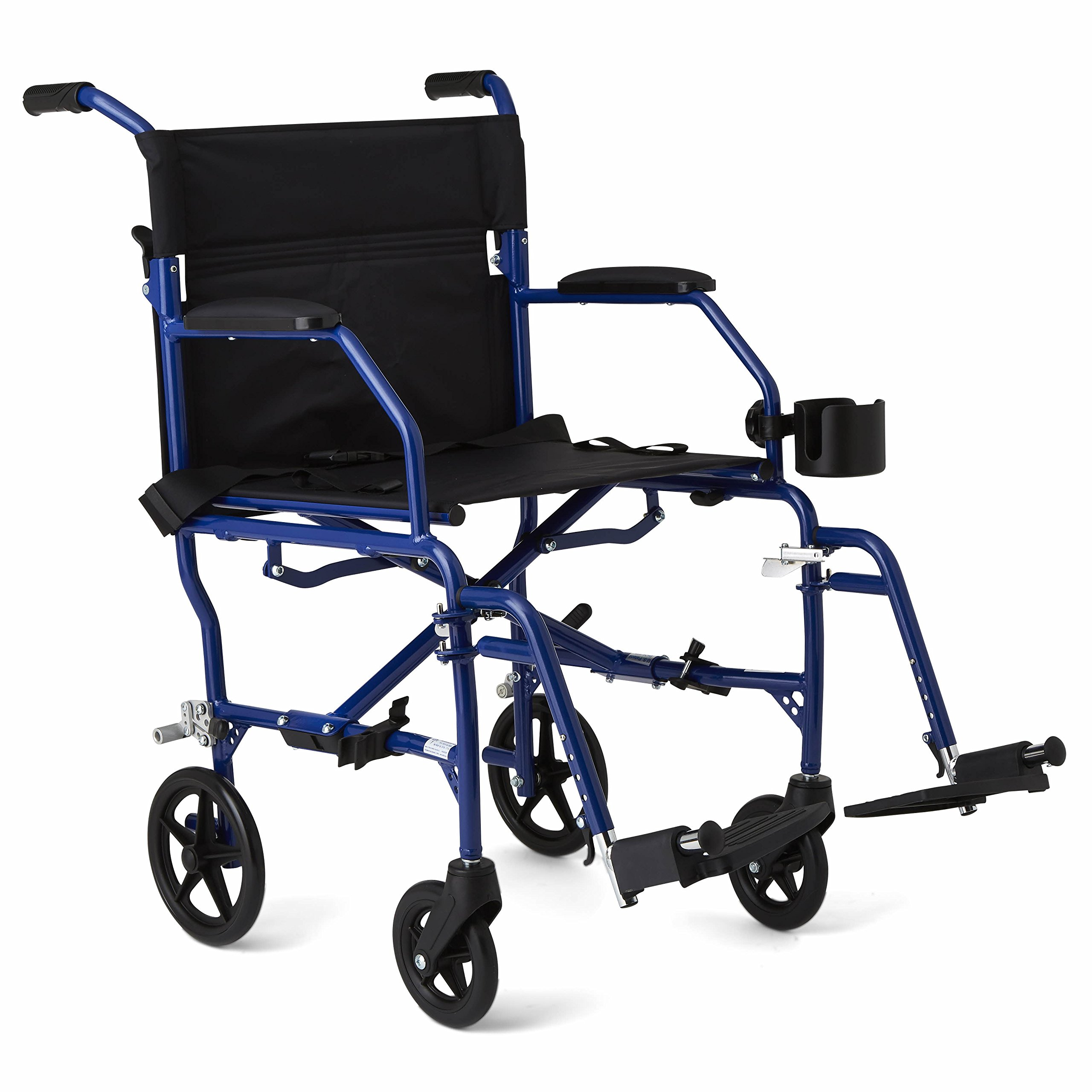 Medline Mobility Ultralight Transport Wheelchair, 19'' Wide Seat, Permanent Desk-Length Arms, Swing Away Footrests, Blue Frame