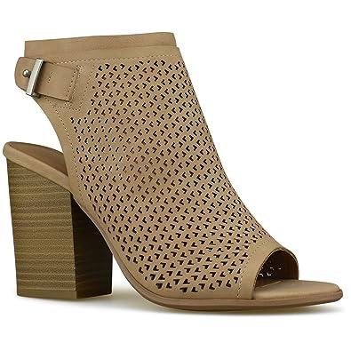 Premier Standard - Women s Cut Out Strappy Bootie - Slip On Low Stacked  Heel - Open b4672892bd42