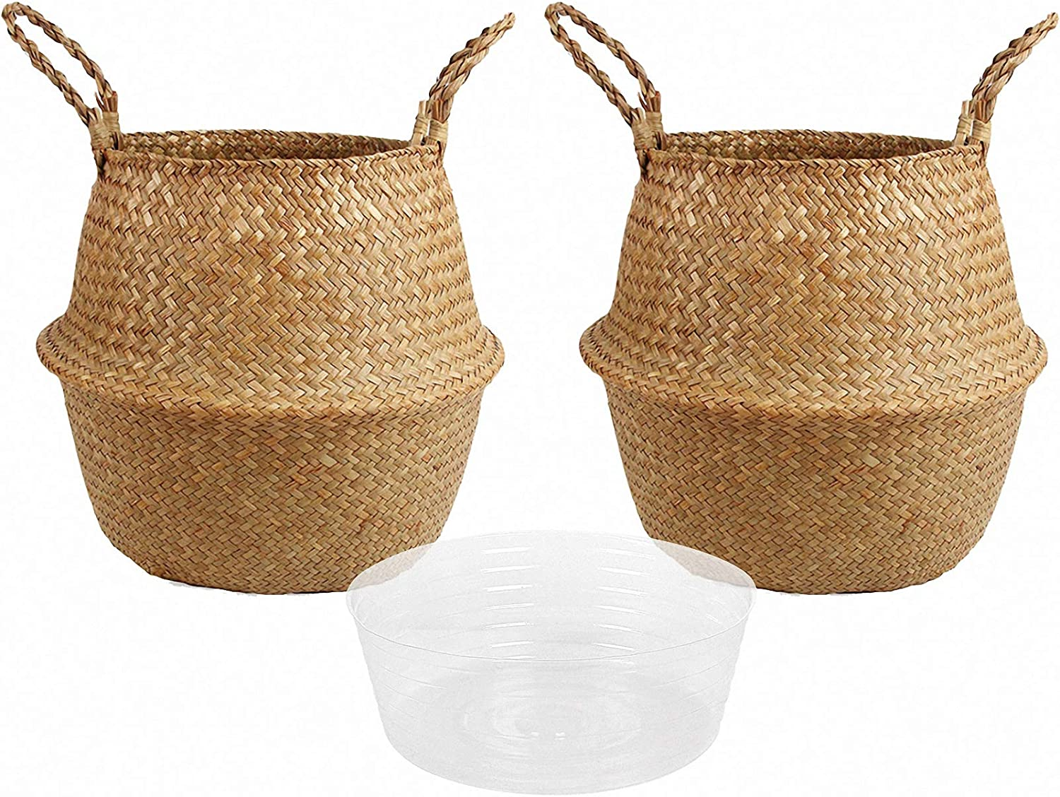Laundry BlueMake Woven Seagrass Belly Basket with Handles for Storage Plant Pot Basket,Toy Picnic and Grocery Basket with Plastic Tray Small,White