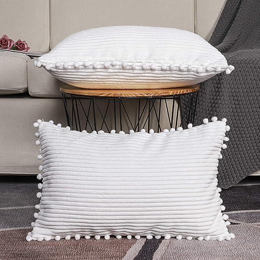 Pack of 4 Pom Pom Cushion Cover White