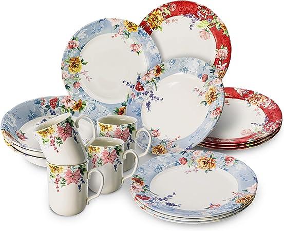 Amazon Com Tudor Royal Collection 16 Piece Premium Quality Porcelain Dinnerware Set Service For 4 Crimson See 10 Designs Inside Dinnerware Sets