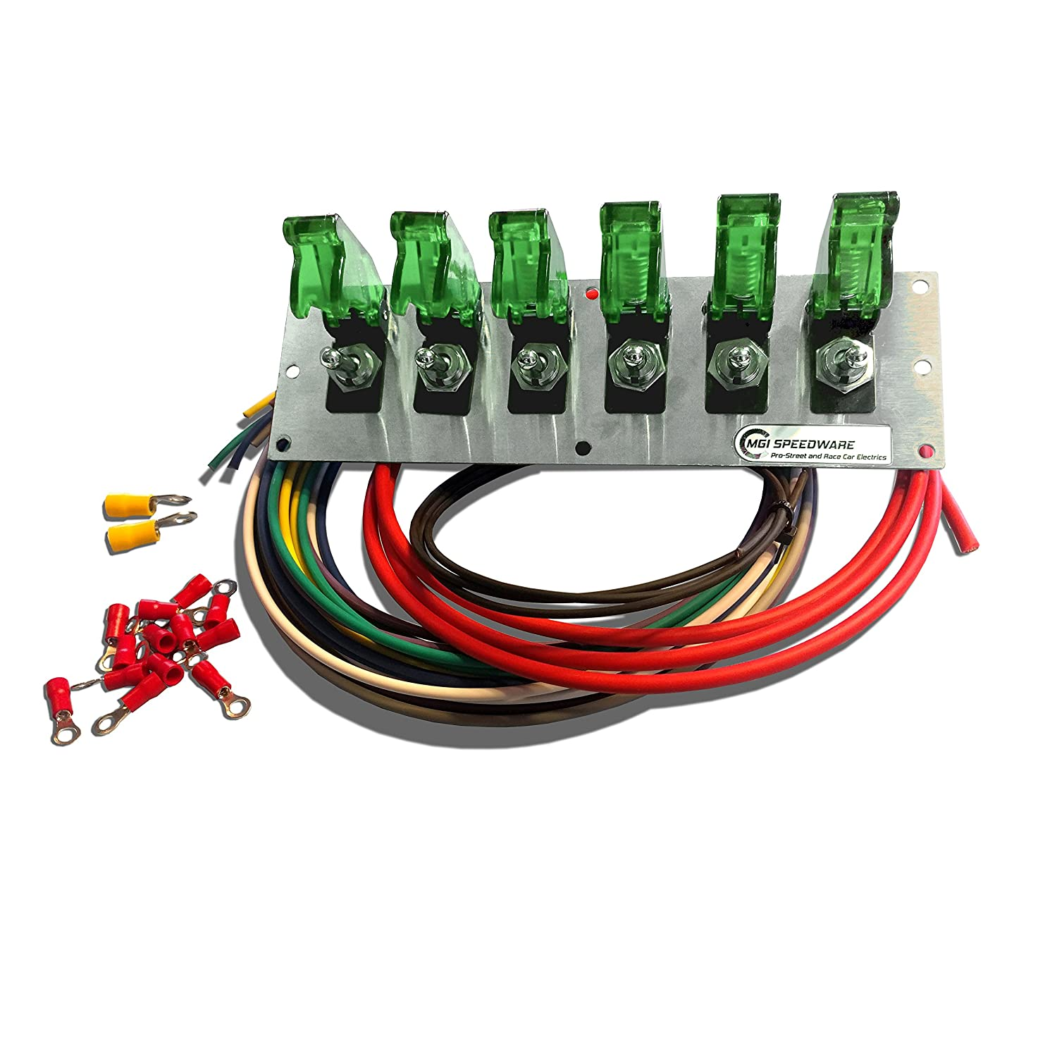 mgi speedware 6 gang metal toggle switch panel wiring kit with aircraft  safety covers — 12v racing car, boat and truck (green): amazon ca:  automotive