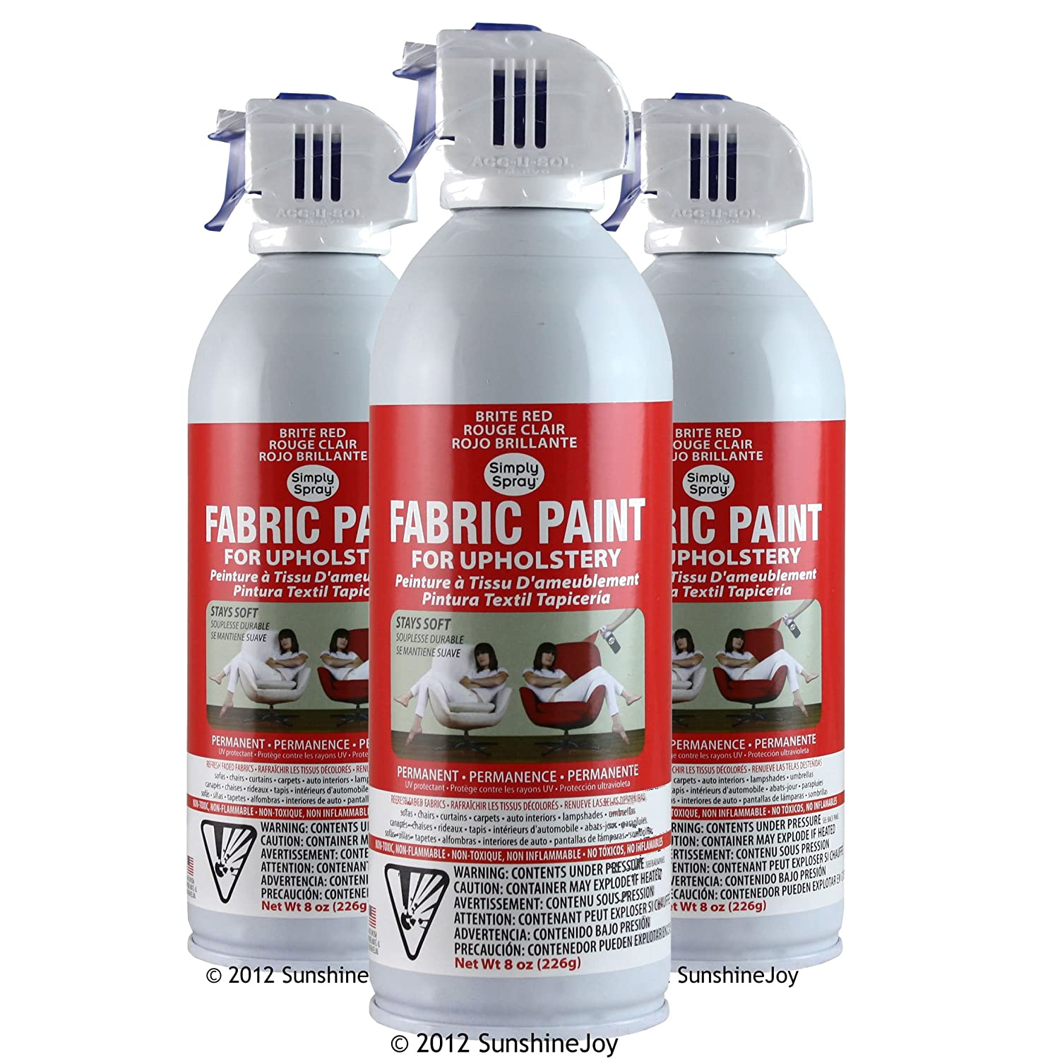 Simply Spray Upholstery Fabric Spray Paint 8 Oz. Can 3 Pack Brite Red - -  Amazon.com