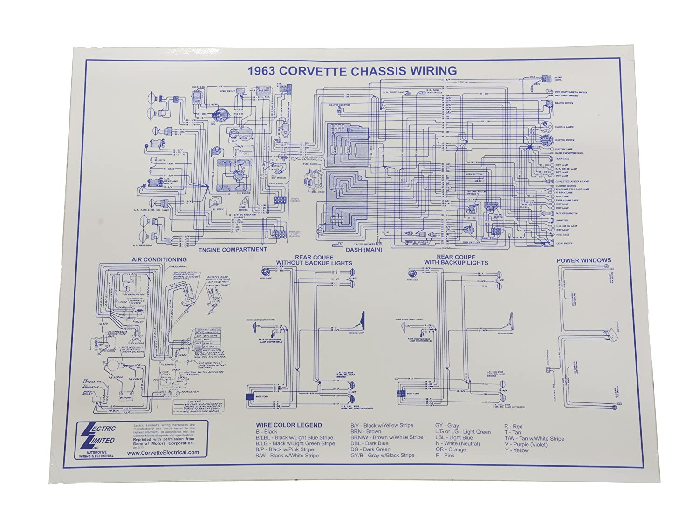 1963 Corvette Ac Wiring Diagram Schematics Engine Amazon Com 17 X 22 Laminated Automotive 2000