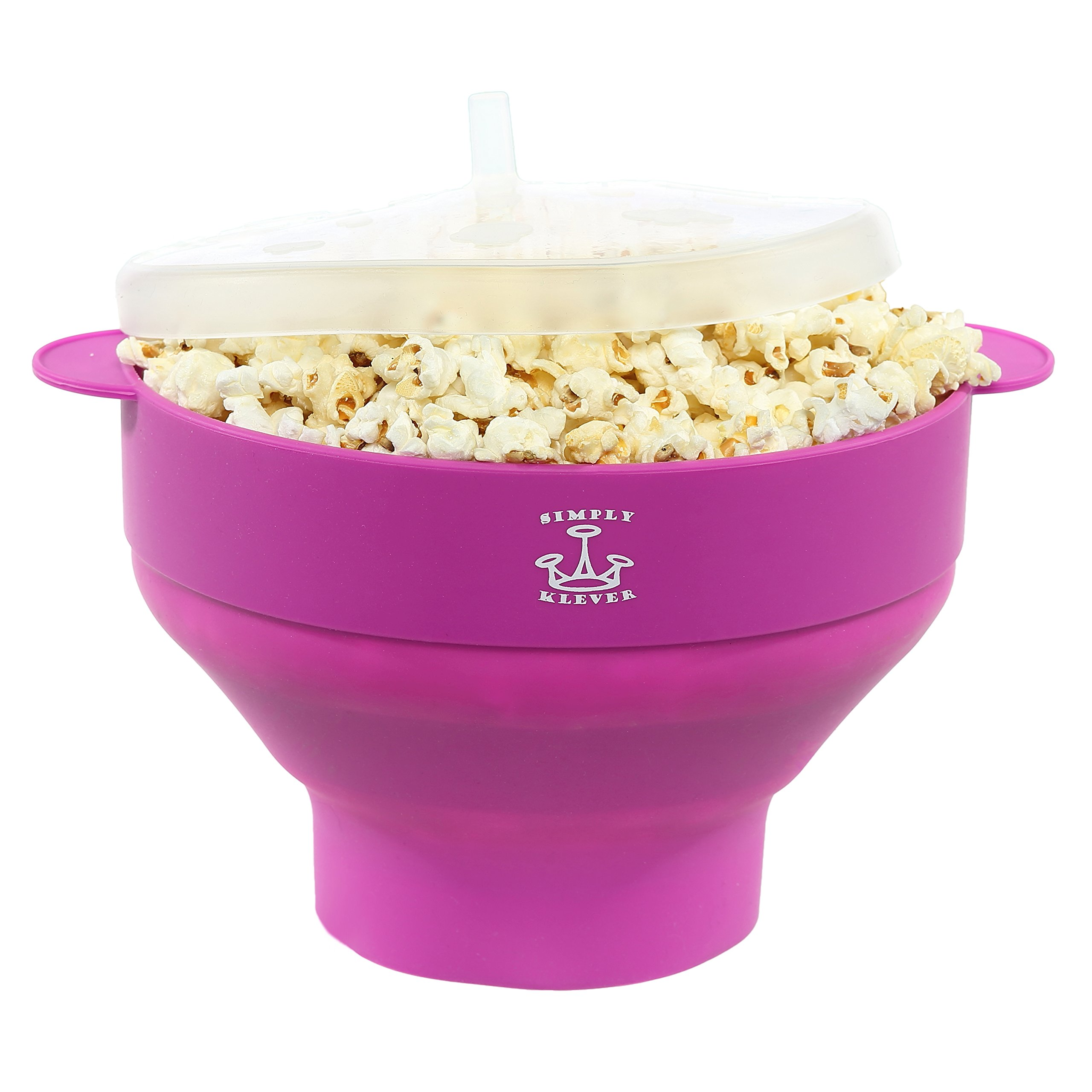 Simply Klever Microwave Popcorn Popper, Silicone Popcorn Maker, Collapsible Bowl BPA Free (Purple) - THE HEALTHY LOW CALORIE SNACK