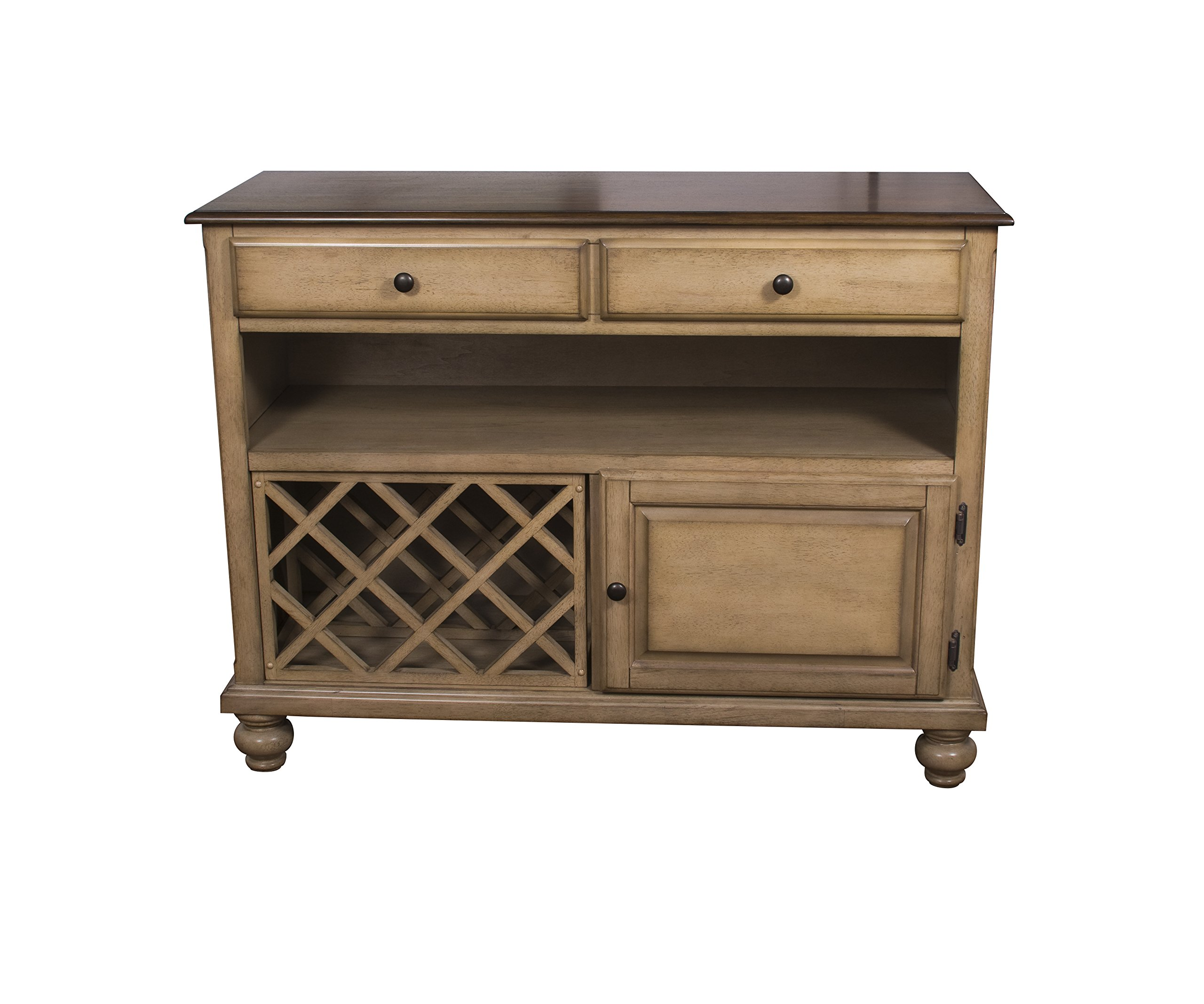 Sunset Trading Brook Buffet Server, Two Drawers | Open Shelf | |, Distressed light creamy wheat with warm pecan top by Sunset Trading
