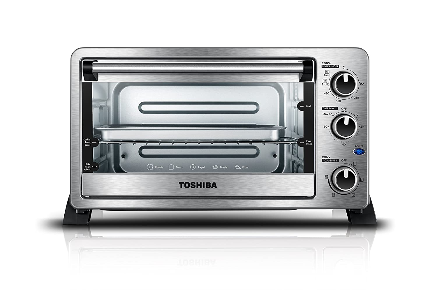 Toshiba MC25CEY-BS Mechanical Oven with Convection/Toast/Bake/Broil Function, 25 L Capacity/6 Slices Bread/12-inch Pizza, Black Stainless Steel