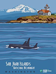 EzPosterPrints - Retro Style National Conservation Lands Poster Series- Poster Printing - Wall Art Print for Home Office Decor - San Juan Islands - Washington - 24X32 inches