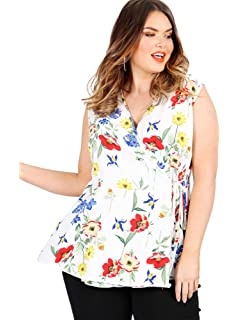 4fc4dd94139 Lovedrobe GB Women s Ivory Floral Print Sleeveless Wrap Top Plus Sizes 16-26