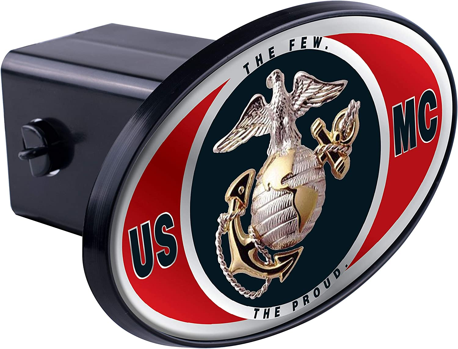 MVP Accessories US Marine Corps Insignia Black Metal Trailer Hitch Cover with Metal Logo