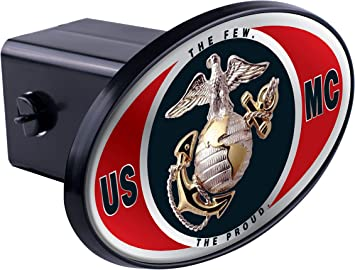 United States US Marine Corps USMC Marine Seal on Chrome Hitch fits 2 inch Car Truck Receiver
