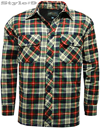 Mens Thick Padded Quilted Check Lumberjack Shirt Warm Winter Work