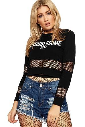 b14aee8092b WearAll Women's Cropped T-Shirt Top Ladies Mesh Fishnet Long Sleeve Slogan  Print New -