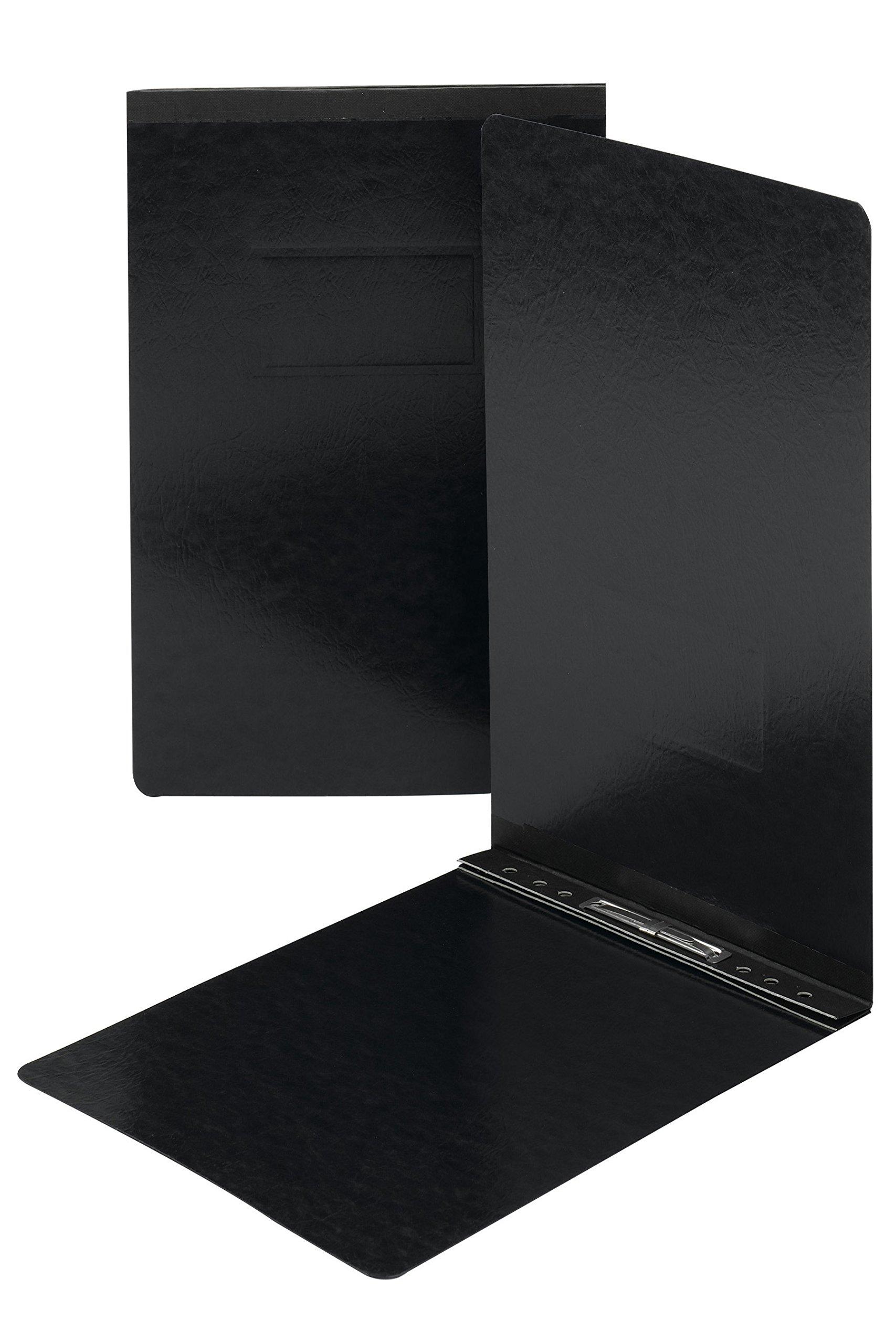 Smead Pressboard Report Cover, Metal Prong with Compressor, Top Fastener, 250 Sheets/2'' Capacity, Legal Size, Black, 25 per Box (81733)