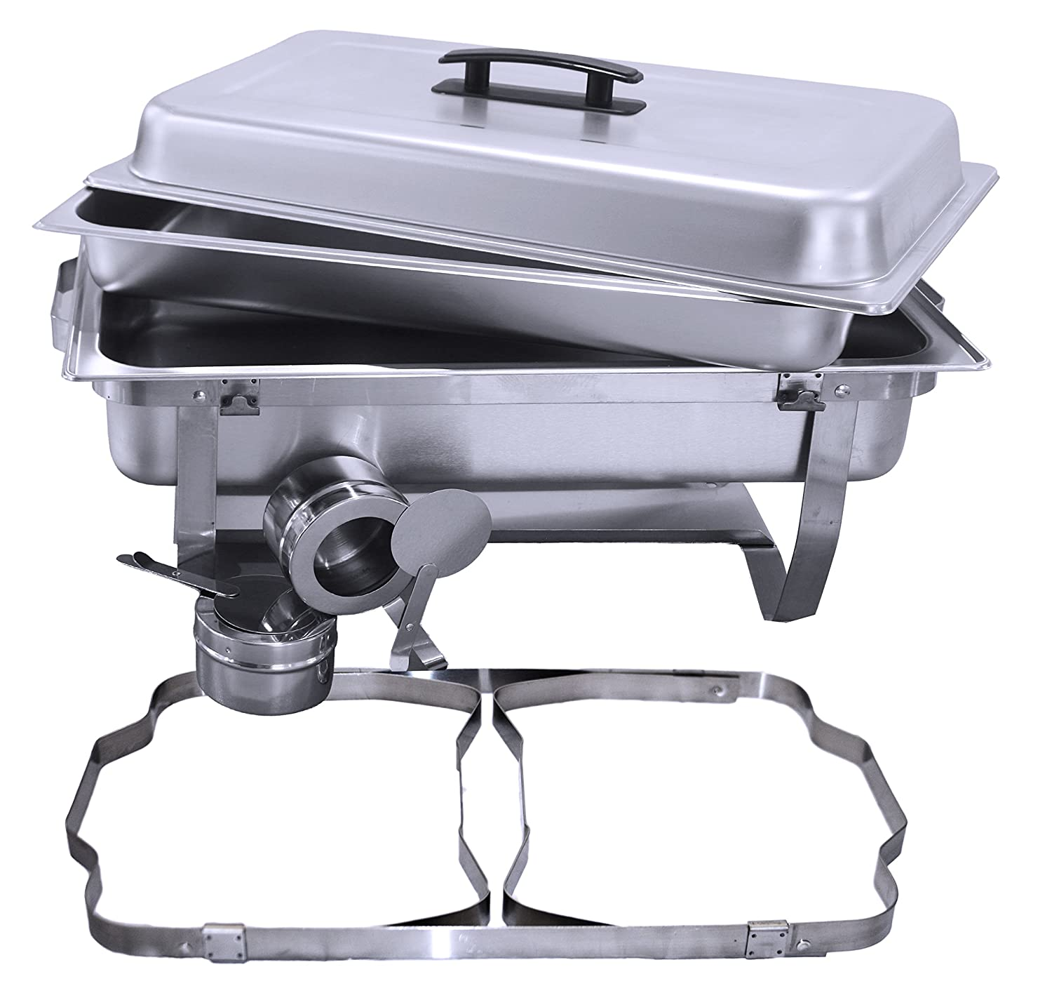 Tiger Chef 8 Quart Full Size Stainless Steel Chafer with Folding Frame and Cool-Touch Plastic on Top 3, Full Size with 1 2 Inserts