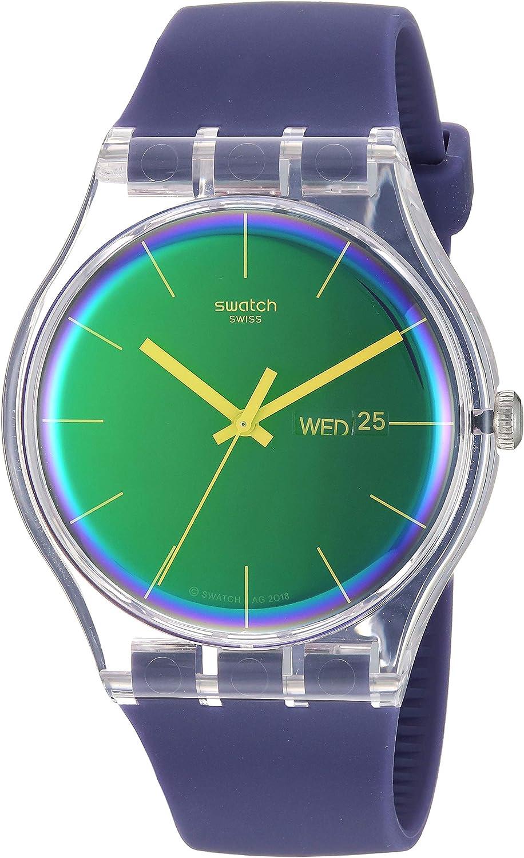 Swatch Transformation Quartz Silicone Strap, Purple, 20 Casual Watch (Model: SUOK712)