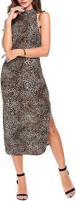 ANGVNS Women Leopard Print Dress Split Long Casual Cocktail Party Evening  Gowns ... ba721bc73