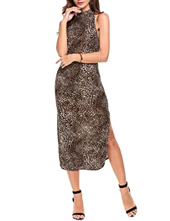 ANGVNS Women Leopard Print Dress Split Long Casual Cocktail Party Evening  Gowns Dark Brown b05b54acd