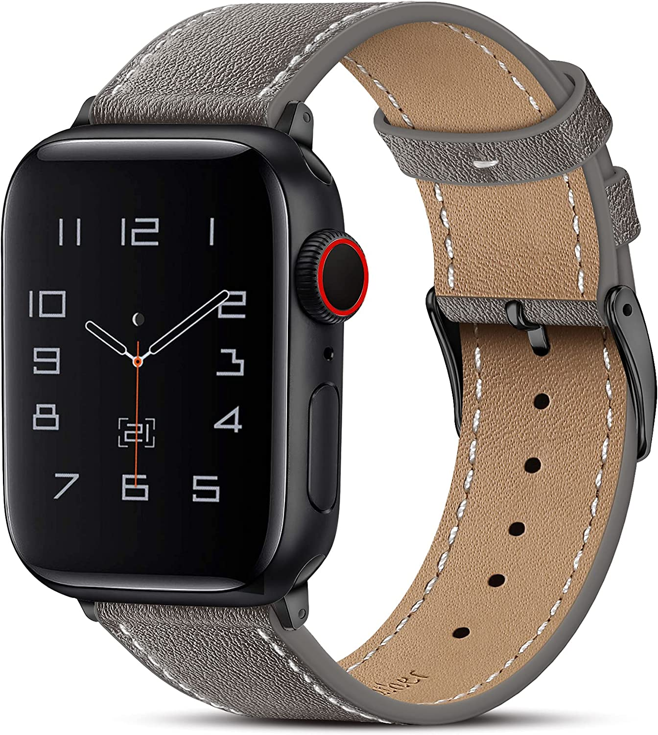 Marge Plus Compatible with Apple Watch Band 44mm 42mm 40mm 38mm, Genuine Leather Replacement Band for iWatch Series 6 5 4 3 2 1, SE (Dark Gray/Black, 44mm/42mm)