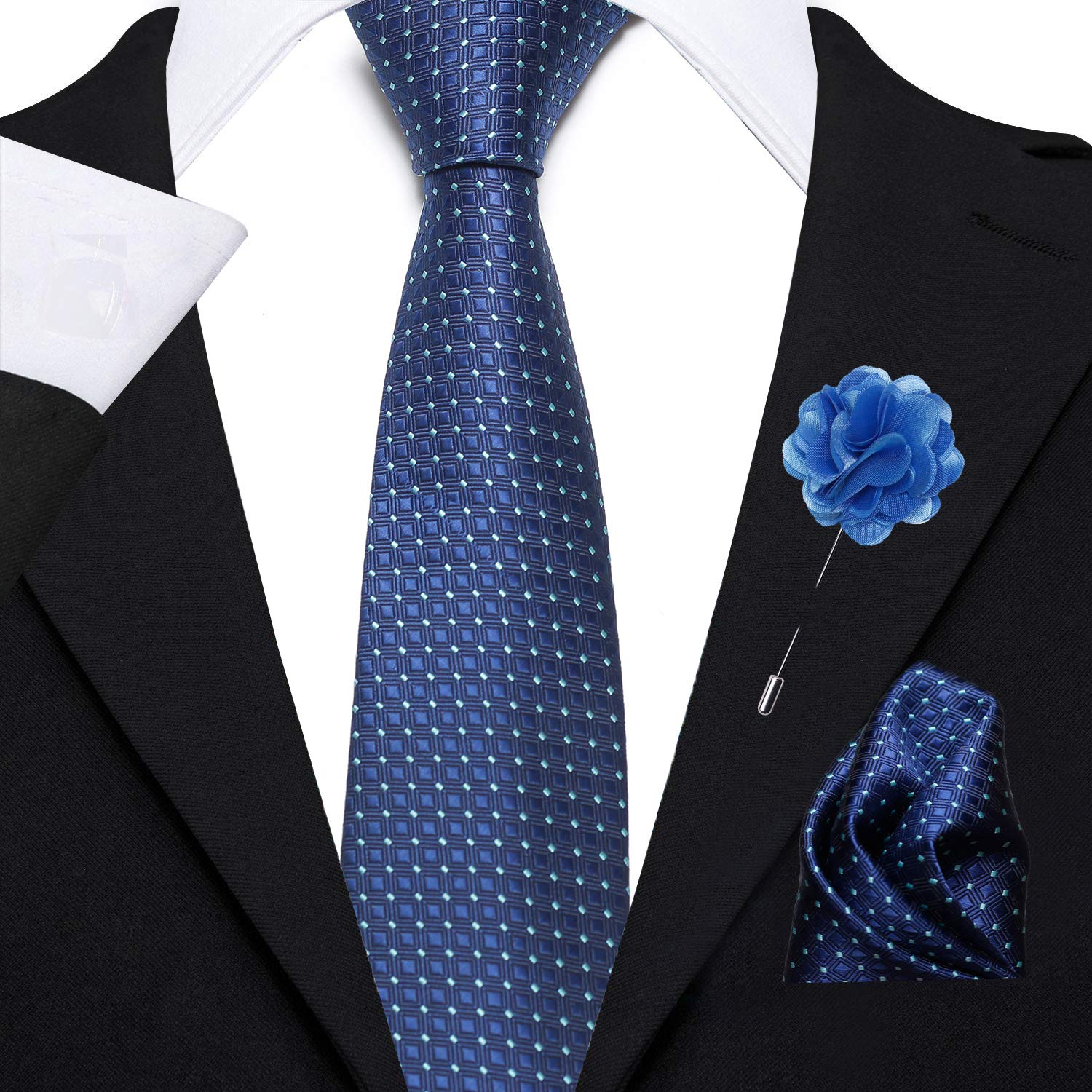 Axlon Men's Micro Polyester Necktie Set with Pocket Square and Lapel Pin (Blue, Free Size)