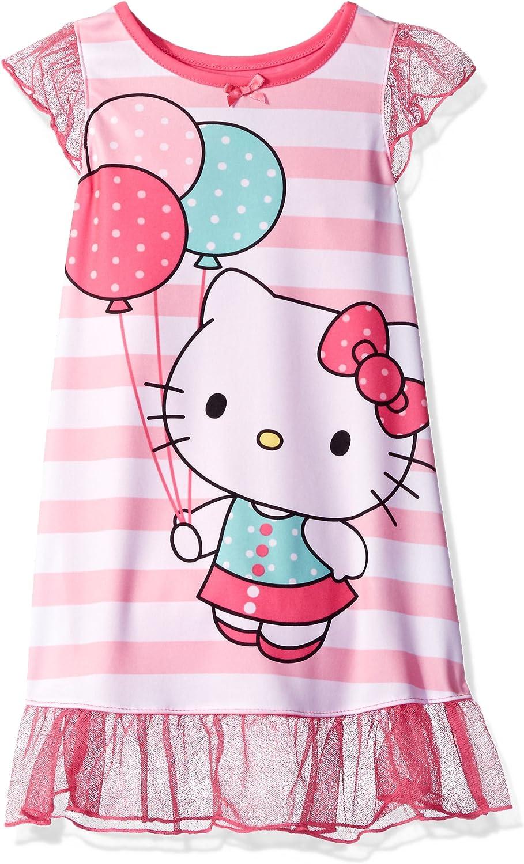 Girls HELLO KITTY Summer  Dress Short Sleeve Blue Pink  3 4 5 6 7 8 Y