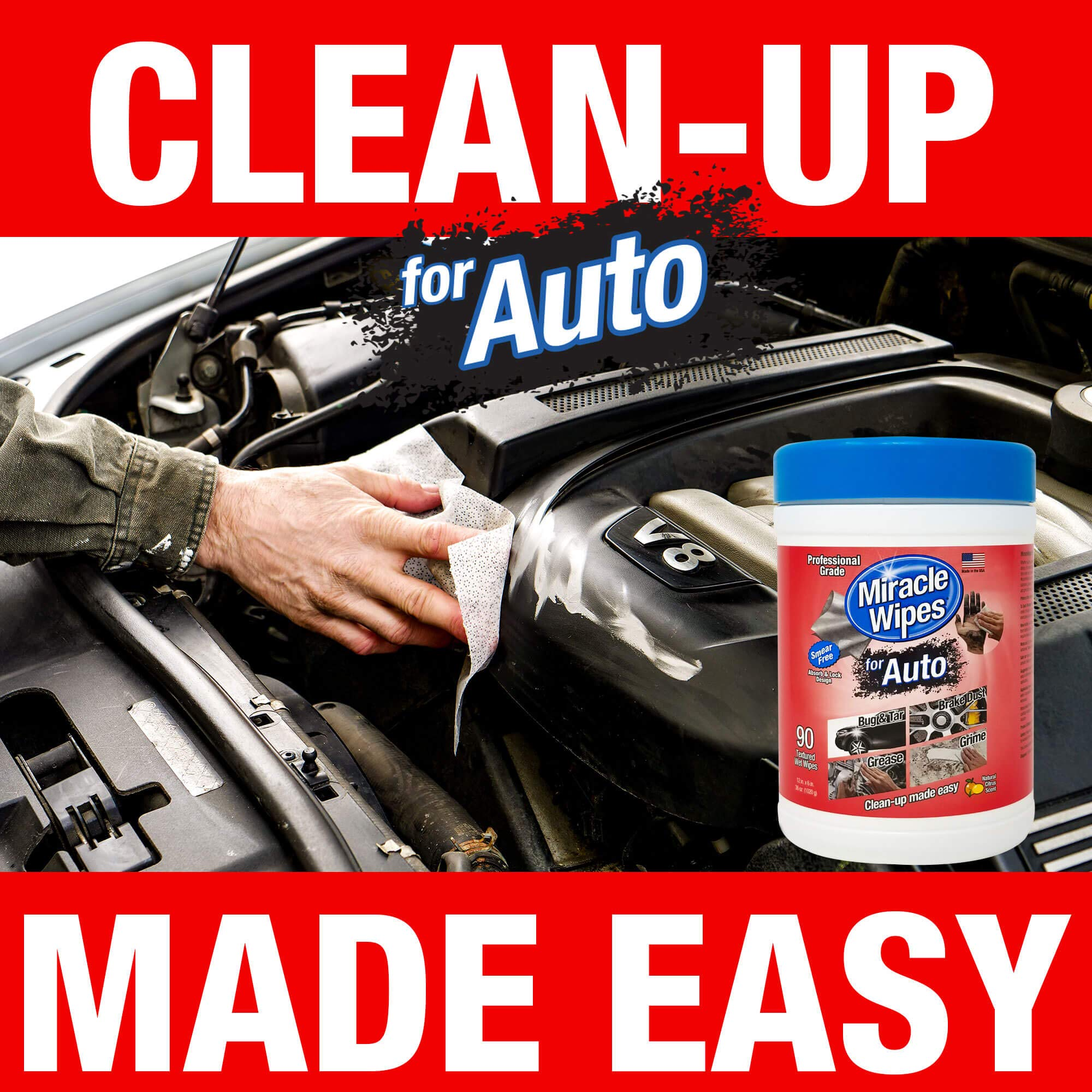 MiracleWipes for Automotive - All Purpose Cleaner, Hands, Interior, Exterior, Detailing - Removes Grease, Lubricants, Sticky Adhesives, Grime, Dirt & More - Car Cleaning Supplies - 6 Pack (90 Count) by MiracleWipes (Image #6)