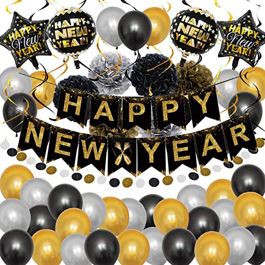 Neujahr Deko 2021 2021 Digital Luftballons Champagner Folien Ballon Latex Ballons f/ür Silvester Neujahrsfeier Weihnachtsfeier PushingBest Silvester deko 2021 Happy New Year Banner
