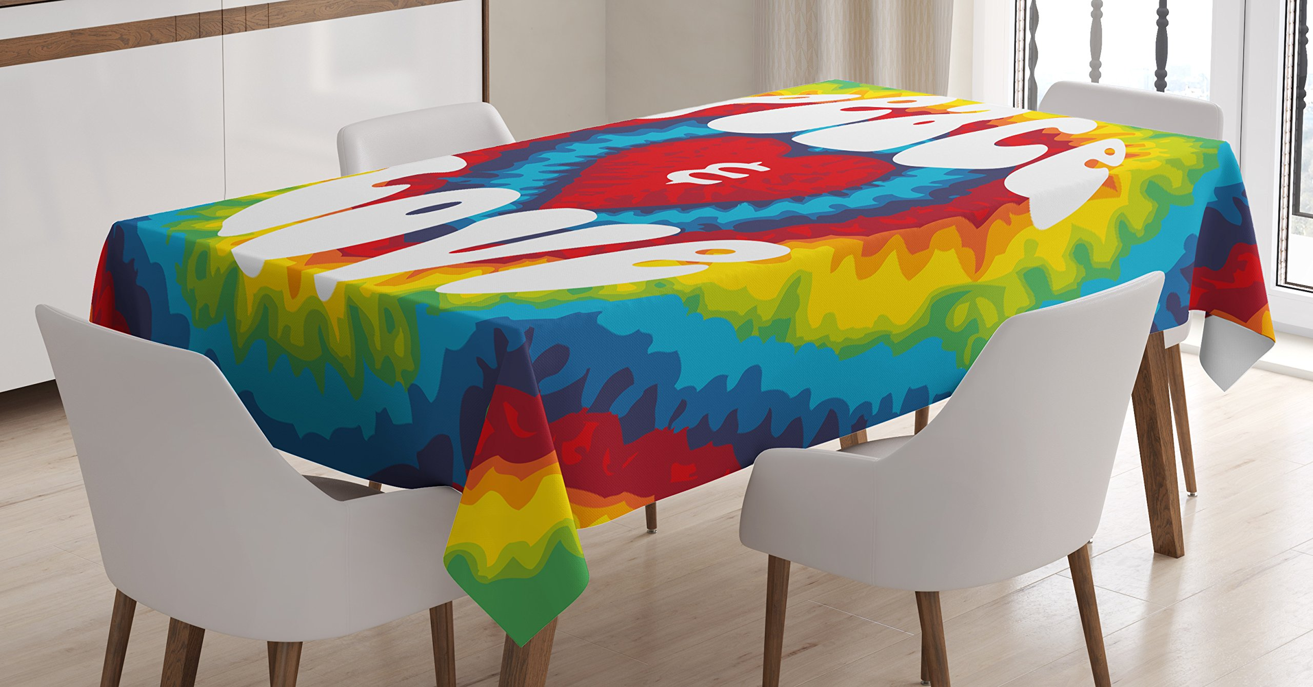 Ambesonne 70s Party Decorations Tablecloth, Peace and Love Groovy Tie Dye Heart Shaped Abstract Hippie Rainbow, Dining Room Kitchen Rectangular Table Cover, 52 W X 70 L inches, Multicolor