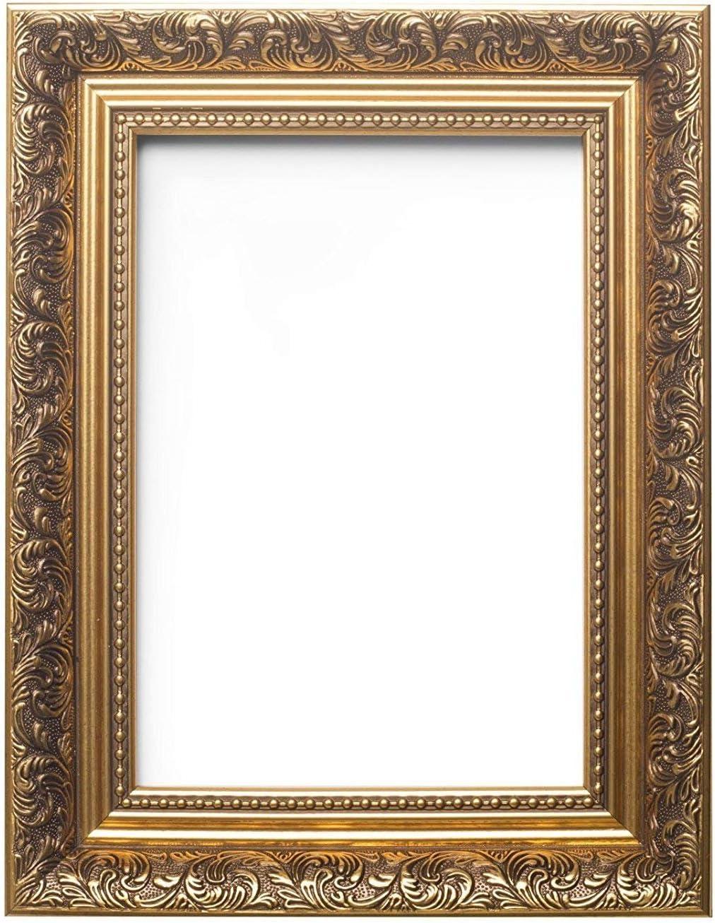 Gold – Tamaño A3 – Cuadros Decorados en Estilo francés Antiguo, Marco de Fotos/póster, tamaño 58 mm de Ancho y 38 mm de Profundidad, de plexiglás irrompible de estireno para una Alta claridad