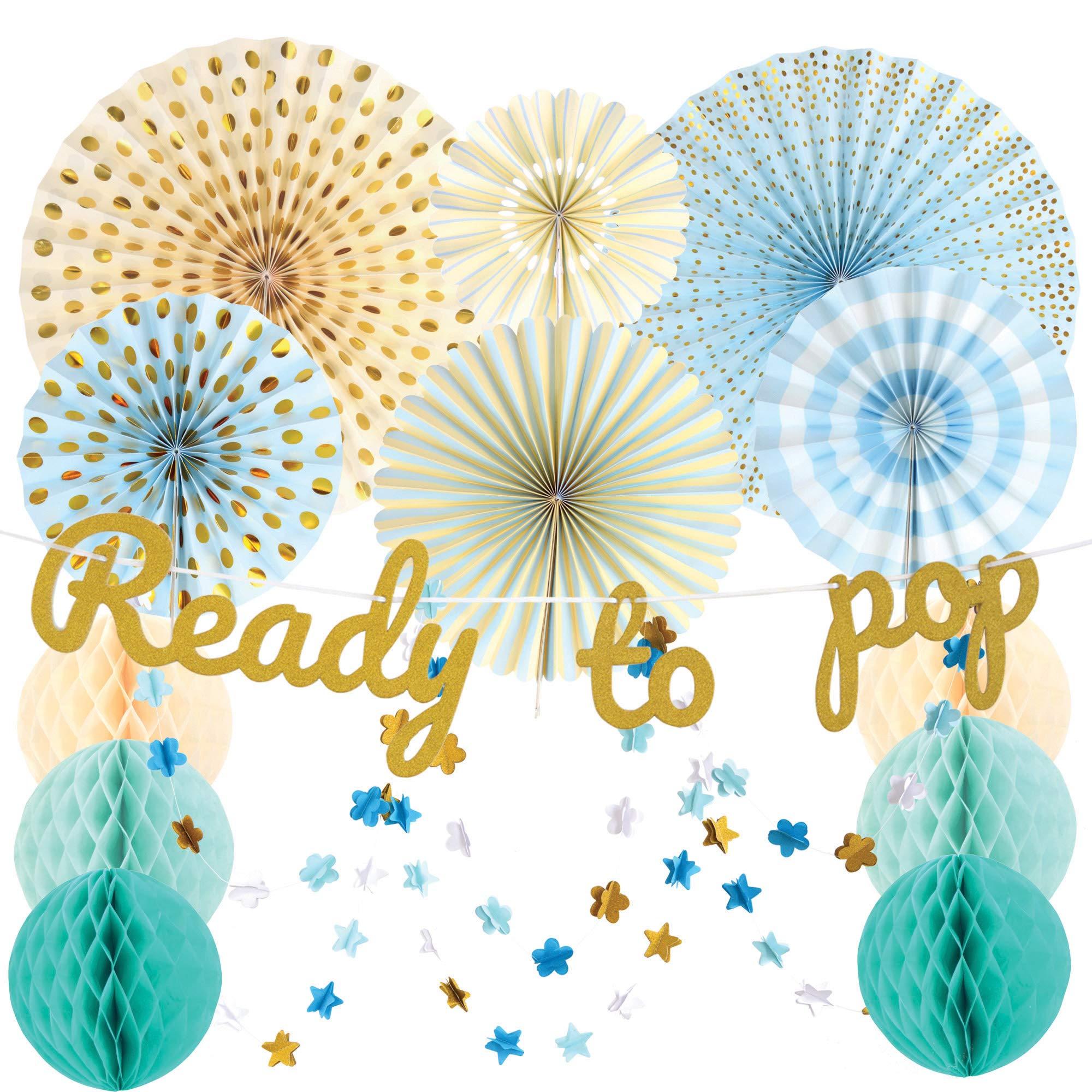 SMILING KOALA | Baby Shower Decorations for boy | Blue Baby Shower Decorations | Ready to Pop banner | Paper Fans | Honeycomb Balls | Garlands | baby shower boy | Party Decorations | Boy baby shower decorations