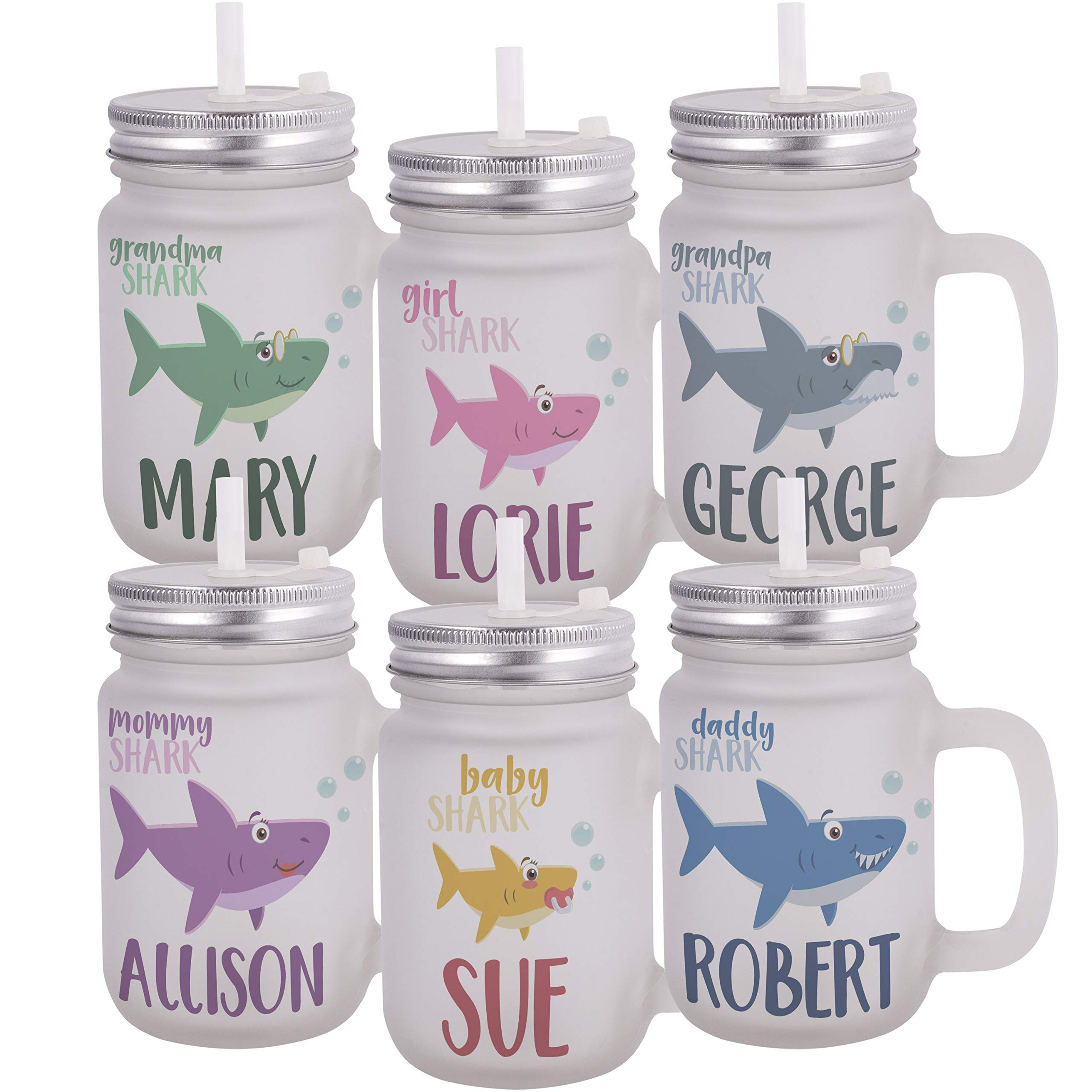Personalized Gifts Shark Family Coffee Mug - 12oz Frosted Mason Jar Coffee Mug with Lid and Straw -Birthday Gifts, Christmas Gifts, Mother's Day-Baby, Boy, Girl, Mommy, Daddy, Grandma, Grandpa Sharks