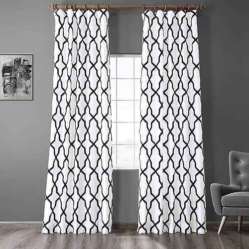 HPD Half Price Drapes PTFFLK-C35C-108 Designer Flocked Curtain 1 Panel