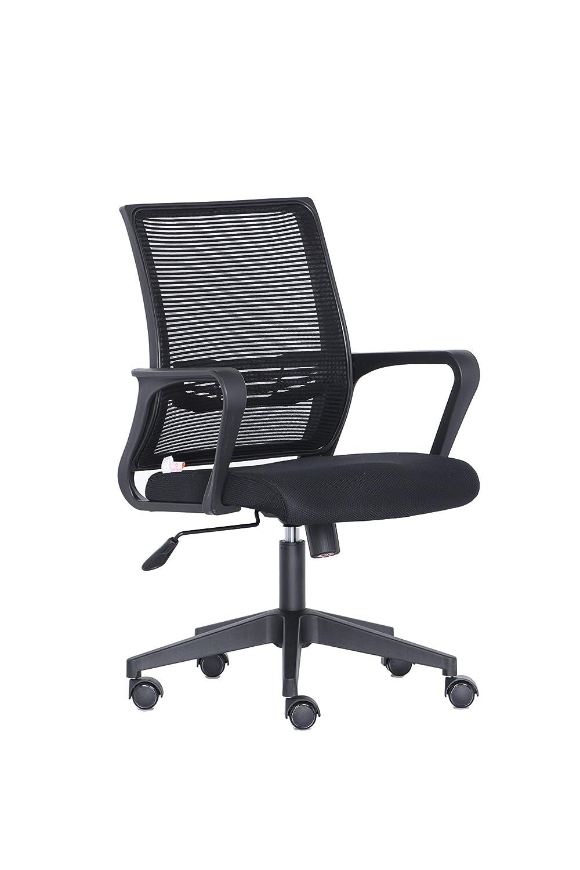 Peach PO201 Heimbüro Drehstuhl, schwarz, 115 kg Belastbarkeit, 59 x 58 x 91 [cm], mit Armlehnen, ergonomisch, anschmiegsam, verstellbar