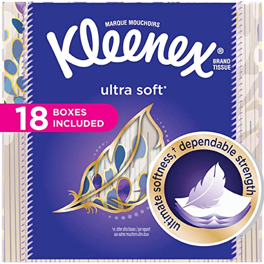 Kleenex Ultra Soft Facial Tissues, Cube Box, 75 Tissues per Cube Box, 18 Packs