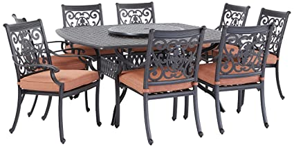 Darlee St Cruz Cast Aluminum 10 Piece Dining Set With Seat Cushions 64 Inch Square Dining Table And 30 Inch Lazy Susan Antique Bronze Finish
