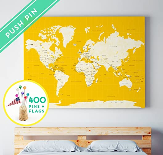 Amazon world map pushpin board world map green cream vintage world map pushpin board world map green cream vintage ready to hang 400 pins gumiabroncs Images