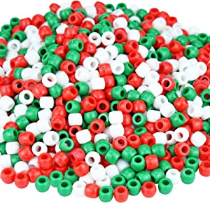 1000 Pcs Christmas Plastic Beads Assorted Opaque Round Beads for Home Decor Necklaces Bracelets Earrings DIY Crafts (Red Green White)
