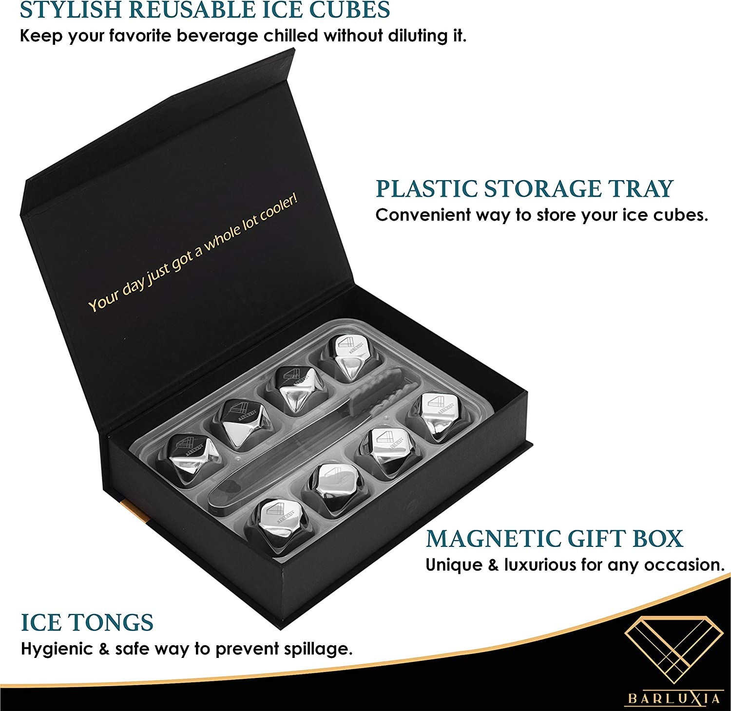 DERGUAM 8 Packs Fast-cooling 304 Stainless Steel Ice Cubes Whiskey Stones Whiskey Rocks With Nonslip Ice Tong/&Wine Opener/&Freezer Storage Tray Great for Whiskey,Wine,Beer,Juice or Soda