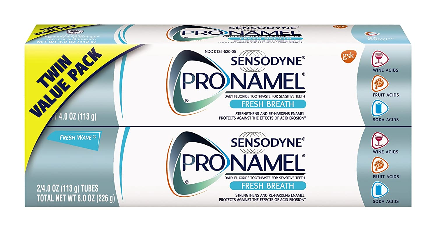 Sensodyne Pronamel Toothpaste for Tooth Enamel Strengthening, Fresh Breath, 4 Ounce (Twin Pack)