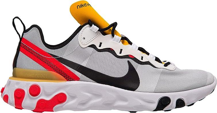 NIKE REACT ELEMENT 55 WHITE BLACK BRIGHT CRIMSON BQ6166-102 Mens Sneakers