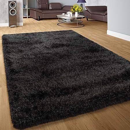 Weich Einfarbig in Schwarz Hochflor-Teppich Shaggy-Teppich Für Wohnzimmer