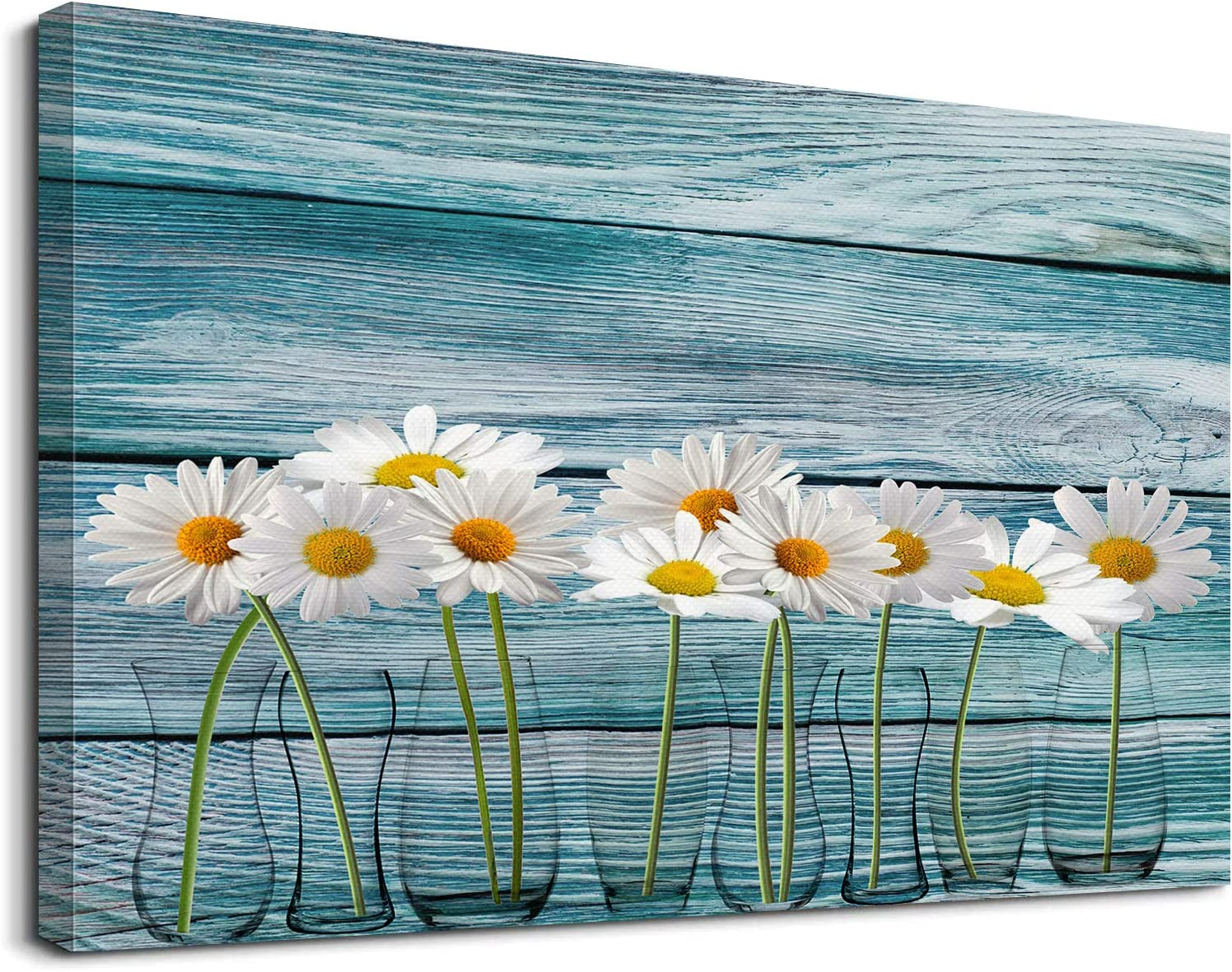 Vintage Flower Modern Floral Daisy Flower Vase Picture Canvas Wall Art for Living Room Bathroom Bedroom Home Decor 12x16 Inch Watercolor Painting Canvas Print Ready to Hang