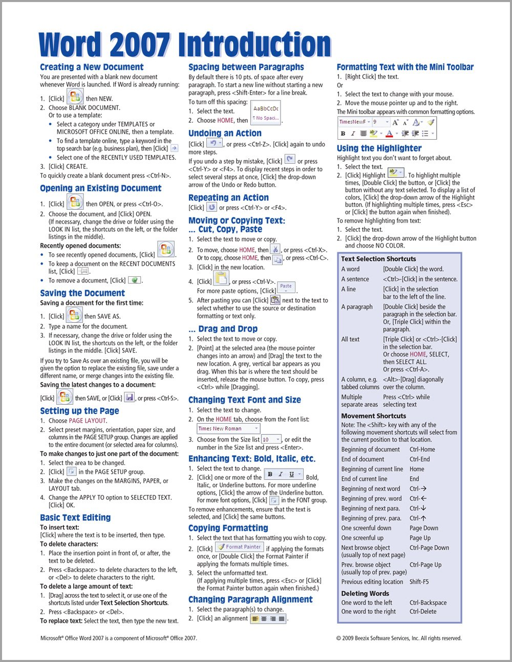 Microsoft Word 2007 Introduction Quick Reference Guide (Cheat Sheet of Instructions, Tips & Shortcuts - Laminated Card) PDF